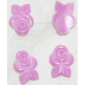 Zink Color Nail Art Cool Pink Curve Rose Bouquet 4Pc