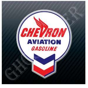 Chevron Aviation Gasoline Gas Pump Fuel Vintage Sticker