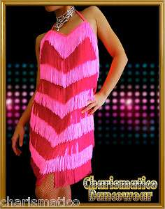 Custom PInk FUCHSIA SAMBA CHa CHA FRINGE salsa latin dance dress