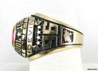 High School Class RING   10k Yellow Gold Solid Back Red Stone