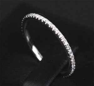 ETERNITY BAND DIAMOND SOLID 14K WHITE GOLD PAVE WEDDING ENGAGEMENT