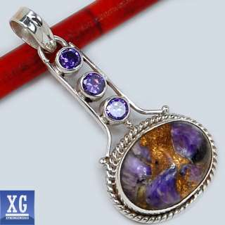 SP47551 COPPER CHAROITE & AMETHYST 925 STERLING SILVER PENDANT JEWELRY