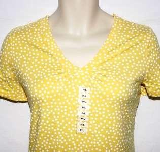 CHARTER CLUB Yellow Polka Dot V Neck Shirt Top Petite Size Large NWT
