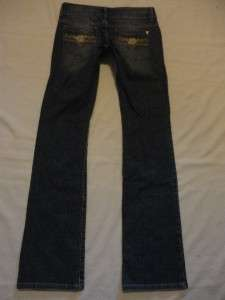 Authentic GUESS Low Rise DAREDEVIL~Boot Cut Embellished Jeans 27 x 34