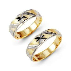 Solid 14k Yellow White Gold Carved Wedding Band Set