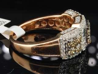 PINK GOLD CHOCOLATE BROWN DIAMOND ENGAGEMENT RING WEDDING BAND