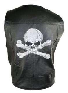 Mens Black Skull and Bones Embroidered Leather Biker Vest 3XL