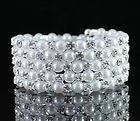 flexible 5 row clear austrian rhinestone pearl bangle arm bracelet