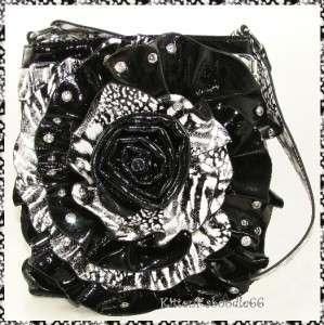 BLACK ZEBRA LEOPARD 3D RHINESTONE FLOWER MESSENGER CROSSBODY BAG PURSE