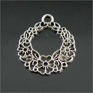 5Pcs Tibetan Silver Flower Circle Charms Pendants 30mm LA351