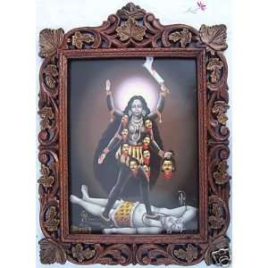Lord Maa Kali Poster Painting in Wood Craft Frame