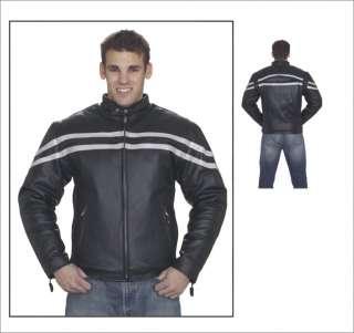 Mens Motorcycle Biker Racer Leather Jacket Silver Line