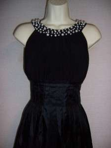 JESSICA HOWARD Black Jersey/Taffeta Ruched Evening Cocktail Dress 16