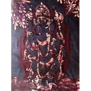 God Ganesh / Dancing Ganesha / Cotton Fabric Tapestry Batik Painting