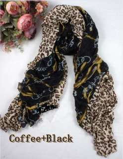 New Fashion Womens girls leopard chain print scarf wrap shawl FREE