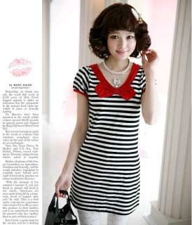 Plus size Women Black & White Short sleeve Cotton dress