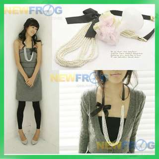 Designer Fashion Jewelry Pearl and Bowknot Necklace B