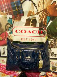 COACH Cobalt Blue Patent Leather Sabrina Satchel Bag Purse Handbag NOT