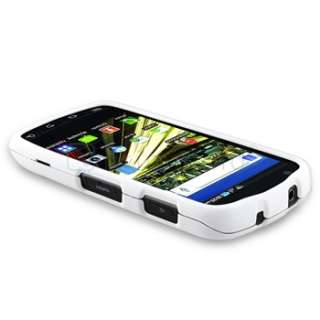 White Rubber Hard Skin Cover Case+ LCD Film Guard For Samsung Droid