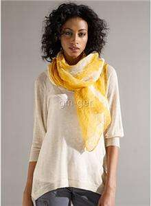 NIP $128 EILEEN FISHER Linen Shibori Bridge Wrap Scarf HONEY & WHITE