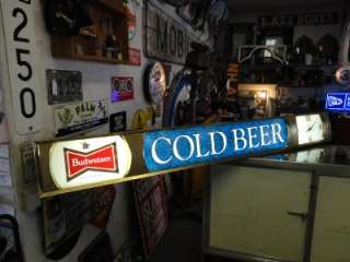 Vintage Budweiser Cold Beer Lighted Flourescent Clock Sign 6 Feet Long