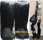 NEW WOMEN ESKIMO FAUX LONG FUR FURRY YETI BOOTS BLACK VINTAGE WARM