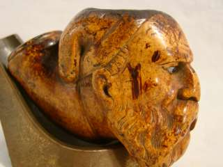 Antique WOOD Carved FOLK ART Old FIGURAL Estate PIPE Bowl MAN Head