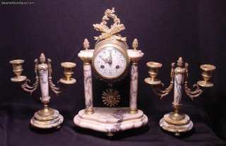 Antique 3 pc Gilt Bronze & Marble Clock Set 2 Matching Candelabras