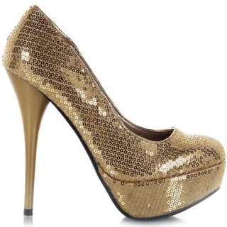 Womens Shoes Platform Stiletto Classic High Heel Pumps Gold Sequin