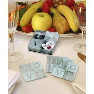 LOVE Glass Coaster Set