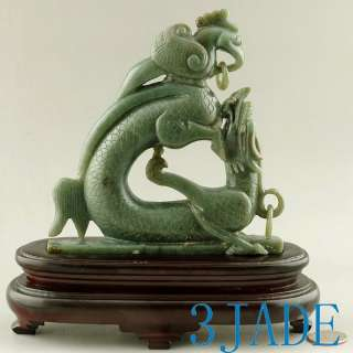 Natural Nephrite Jade Carving Dragon Phoenix Statue