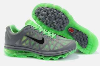 NIKE AIR MAX+ 2011 COOL GRAY/ GREEN RUNNING SHOE BRAND NEW IN BOX