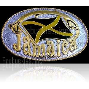 Jamaica Flag Gold and Silver Tone Belt Buckle Everything