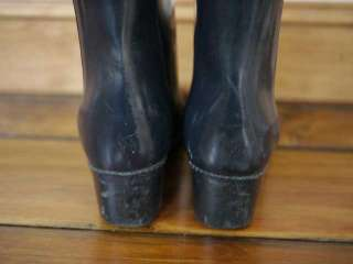 Lined RUBBER Navy Blue Knee High Slouch Rain Snow BOOTS 9 39.5