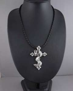 37g DRAGON CROSS 925 STERLING SILVER PENDANT + NECKLACE