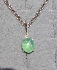 LINDE LINDY SPRING GREEN STAR SAPPHIRE CREATED PENDANT