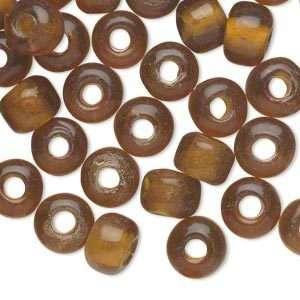 12 Transparent Gold Czech Glass 9x7mm Pony Crow Beads