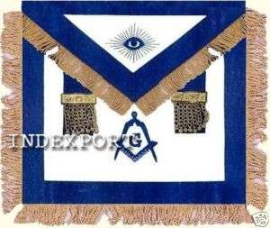 HAND EMBROIDERED MASONIC MASTER MASON APRON WITH TASSELS AND FRINGE