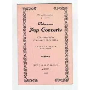 San Francisco Symphony Menu Arthur Fiedler Pop Concert