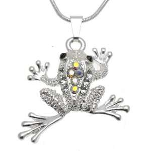 Acosta Jewellery   Rainbow AB Crystal Leaping Frog   Silver Fashion