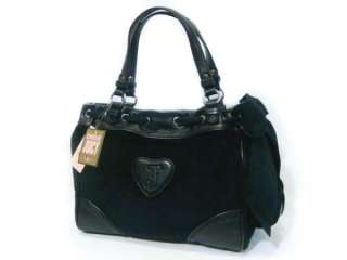 COUTURE Black Velour Solid Crest Scottie Daydreamer Tote Bag