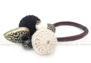 Colors Retro Heart Bell Bead Ball Pony Tail Holder Hair Band Free
