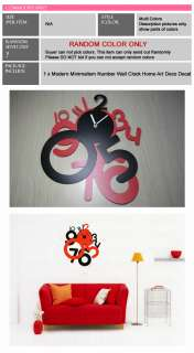 Package 1 x Modern Minimalism Number Wall Clock Home Art Deco Decal