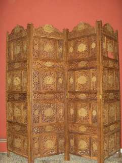 amazing hand carved teak privacy screen with peacocks