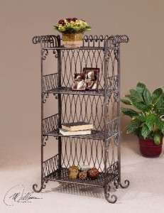 Uttermost Chenelle Etagere in Hand Forged Woven Metal in Verdigris