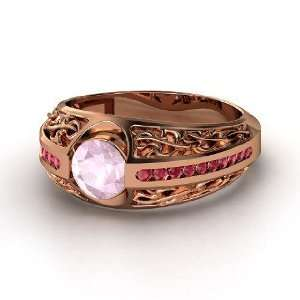 Romance Ring, Round Rose Quartz 14K Rose Gold Ring with Ruby Jewelry