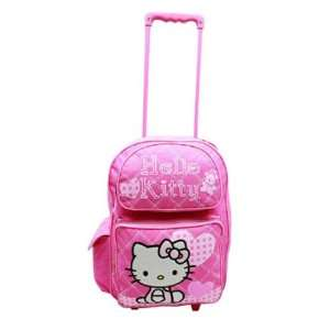 Sanrio Hello Kitty Large Rolling Backpack   Pink Heart Toys & Games