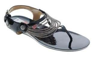West NEW HAWK Womens Flat Sandals Black Designer Medium BHFO 7