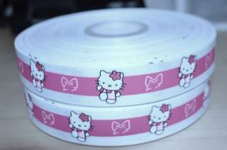 HELLO KITTY WHITE GROSGRAIN RIBBON W STRIPE   1 YD