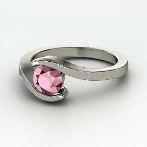 Ocean Ring, Round Rhodolite Garnet 14K White Gold Ring Jewelry